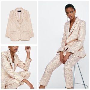 NWOT Zara Metallic Jacquard Blazer - S & M